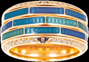 Ring Wellendorff Wasserspiel aus 750 Gelbgold und Emaille mit mehreren Brillanten (0,724 Karat)