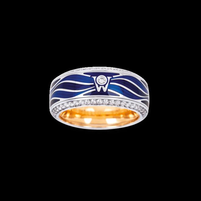 Ring Wellendorff Wellentraum aus 750 Weißgold und Emaille mit mehreren Brillanten (0,769 Karat)