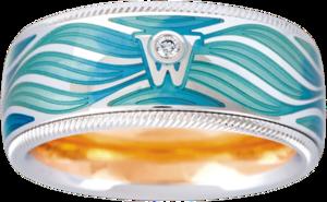 Ring Wellendorff Wellenzauber aus 750 Weißgold und Wellendorff-Kaltemaille mit 1 Brillant (0,017 Karat)