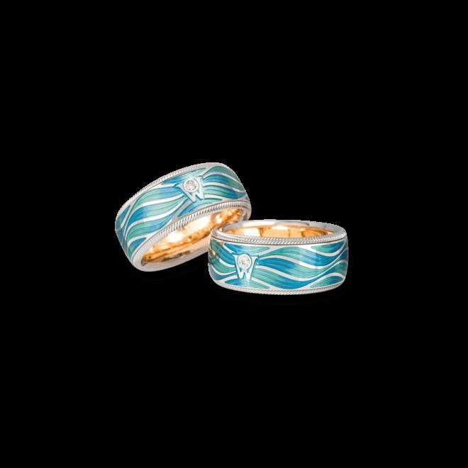 Ring Wellendorff Wellenzauber aus 750 Weißgold und Emaille mit 1 Brillant (0,017 Karat)
