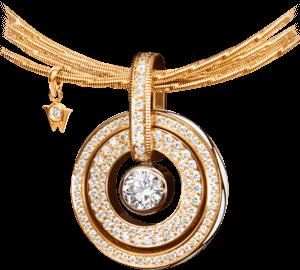 Amulett Wellendorff Brillantflügel aus 750 Gelbgold und Wellendorff-Kaltemaille mit mehreren Brillanten (1,38 Karat)
