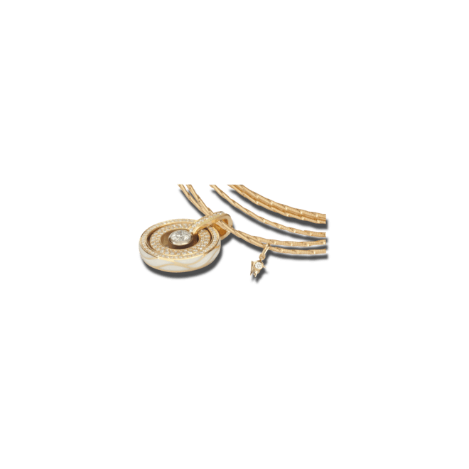Amulett Wellendorff Brillantflügel aus 750 Gelbgold und Emaille mit mehreren Brillanten (1,38 Karat)