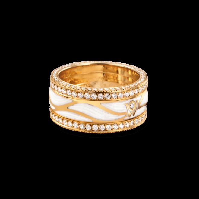 Ring Wellendorff Brillantflügel aus 750 Gelbgold und Emaille mit mehreren Brillanten (1,517 Karat)