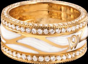 Ring Wellendorff Brillantflügel aus 750 Gelbgold und Wellendorff-Kaltemaille mit mehreren Brillanten (1,517 Karat)