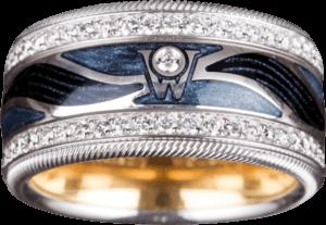 Ring Wellendorff Engelskuss aus 750 Weißgold und Wellendorff-Kaltemaille mit mehreren Brillanten (0,957 Karat)