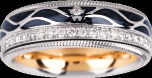 Ring Wellendorff Flügel der Nacht aus 750 Weißgold und Wellendorff-Kaltemaille mit mehreren Brillanten (0,475 Karat)