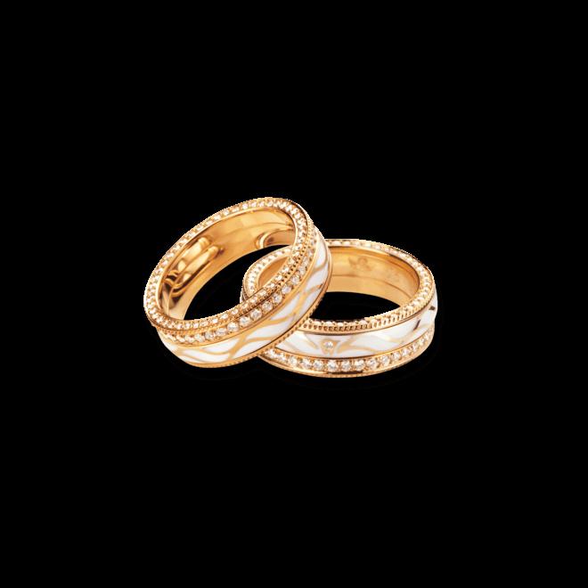 Ring Wellendorff Goldflügel aus 750 Gelbgold und Emaille mit mehreren Brillanten (1,08 Karat)