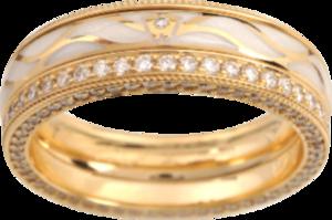 Ring Wellendorff Goldflügel aus 750 Gelbgold und Wellendorff-Kaltemaille mit mehreren Brillanten (1,08 Karat)