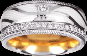 Ring Wellendorff Kristallflügel aus 750 Weißgold und Wellendorff-Kaltemaille mit 46 Brillanten (0,487 Karat)