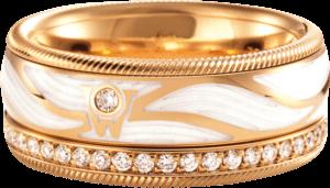 Ring Wellendorff Engelsflügel aus 750 Gelbgold und Wellendorff-Kaltemaille mit 46 Brillanten (0,487 Karat)