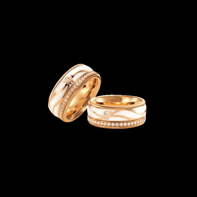 Ring Wellendorff Engelsflügel aus 750 Gelbgold und Emaille mit 46 Brillanten (0,487 Karat)