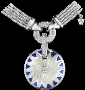 Amulett Wellendorff Bewahre mein Glück Onyx-Saphir aus 750 Weißgold und Emaille mit 1 Brillant (0,25 Karat)