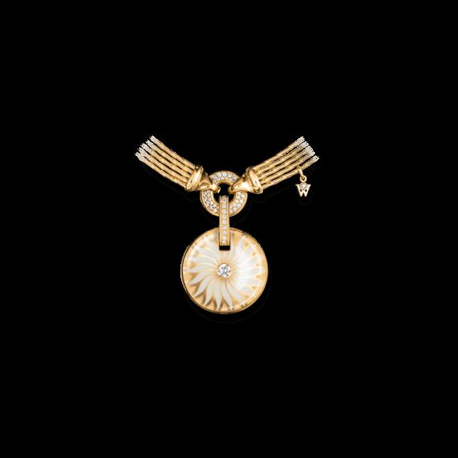 Amulett Wellendorff Bewahre mein Glück Perlmutt-Granat aus 750 Gelbgold und Emaille mit mehreren Brillanten (0,36 Karat)