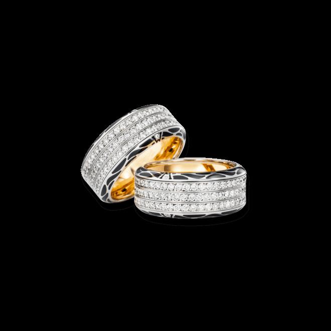 Ring Wellendorff Edel-Onyx aus 750 Weißgold und Emaille mit mehreren Brillanten (1,41 Karat)