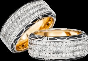 Ring Wellendorff Edel-Onyx aus 750 Weißgold und Wellendorff-Kaltemaille mit mehreren Brillanten (1,41 Karat)