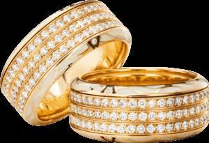 Ring Wellendorff Edel-Perlmutt aus 750 Gelbgold und Wellendorff-Kaltemaille mit mehreren Brillanten (1,354 Karat)