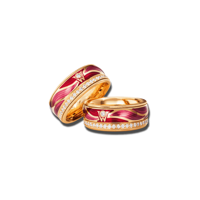 Ring Wellendorff Lebensglück aus 750 Gelbgold und Emaille mit mehreren Brillanten (0,487 Karat)