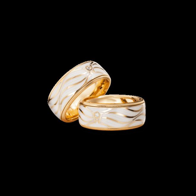 Ring Wellendorff Lebenslust aus 750 Gelbgold und Emaille mit 1 Brillant (0,017 Karat)