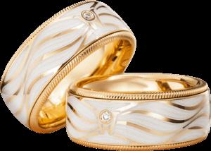 Ring Wellendorff Lebenslust aus 750 Gelbgold und Wellendorff-Kaltemaille mit 1 Brillant (0,017 Karat)