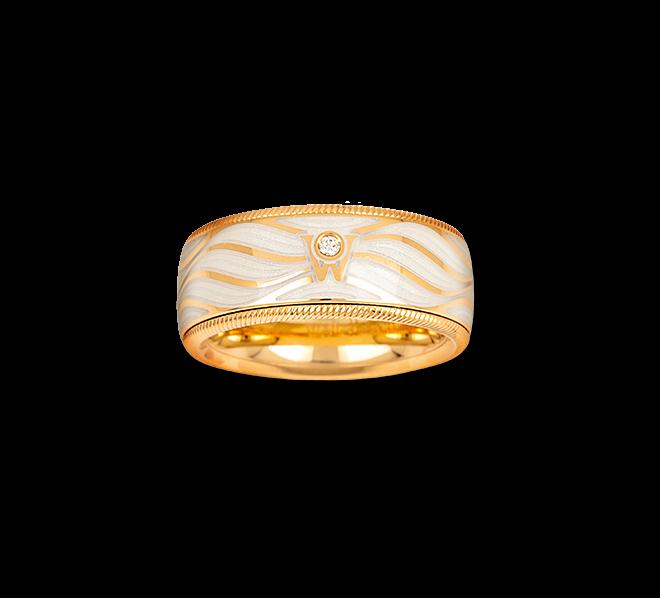 Ring Wellendorff Lebenslust aus 750 Gelbgold und Wellendorff-Kaltemaille mit 1 Brillant (0,017 Karat) bei Brogle
