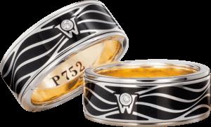 Ring Wellendorff P 752 aus 752 Weißgold und Wellendorff-Kaltemaille mit 1 Brillant (0,017 Karat)