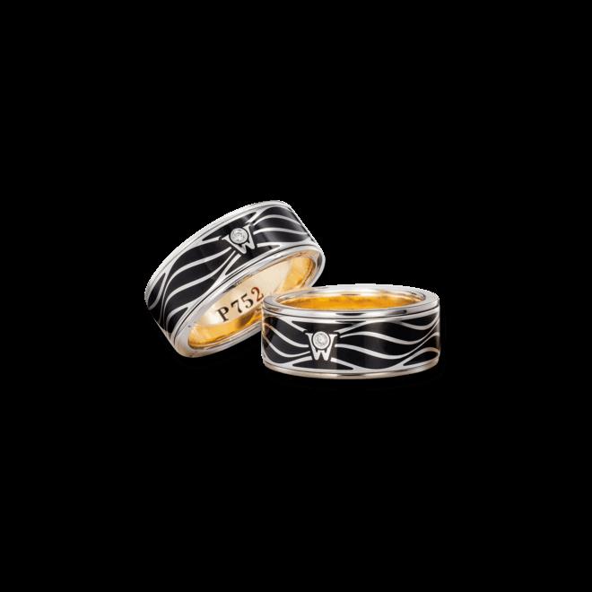 Ring Wellendorff P 752 aus 750 Weißgold und Emaille mit 1 Brillant (0,017 Karat)
