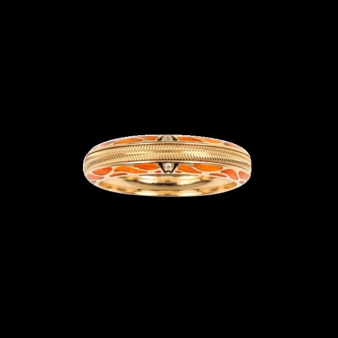 Ring Wellendorff Pures Glück Koralle aus 750 Gelbgold mit 2 Brillanten (0,004 Karat)