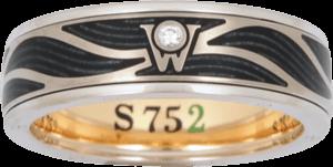 Ring Wellendorff S 752 aus 752 Weißgold und Wellendorff-Kaltemaille mit 1 Brillant (0,017 Karat)