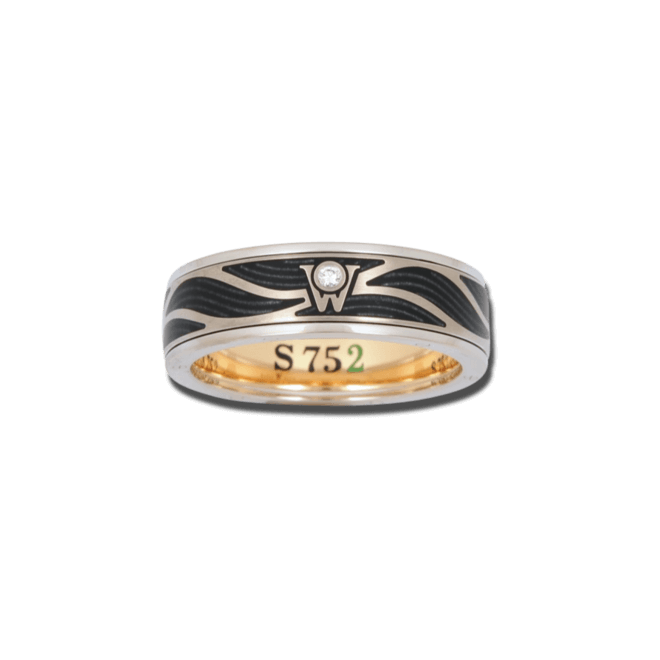 Ring Wellendorff S 752 aus 750 Weißgold und Emaille mit 1 Brillant (0,017 Karat)
