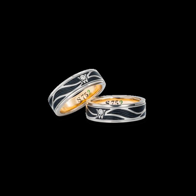 Ring Wellendorff S 752 aus 752 Weißgold und Emaille mit 1 Brillant (0,017 Karat)