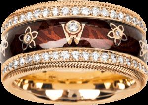 Ring Wellendorff Brillantengel aus 750 Gelbgold und Emaille mit mehreren Brillanten (1,007 Karat)