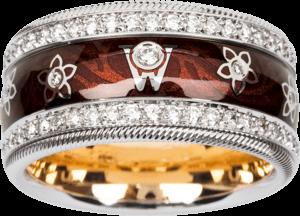 Ring Wellendorff Brillantengel aus 750 Weißgold und Emaille mit mehreren Brillanten (1,007 Karat)