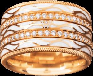 Ring Wellendorff Engel der Liebe aus 750 Gelbgold und Wellendorff-Kaltemaille mit mehreren Brillanten (0,95 Karat)