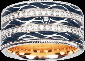 Ring Wellendorff Engel der Nacht aus 750 Weißgold und Emaille mit mehreren Brillanten (0,942 Karat)