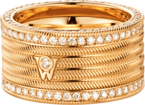 Ring Wellendorff Engelshaar aus 750 Gelbgold mit mehreren Brillanten (1,56 Karat)