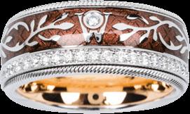 Ring Wellendorff Schokoengel aus 750 Weißgold und Emaille mit mehreren Brillanten (0,487 Karat)