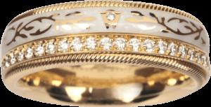 Ring Wellendorff Süßer Engel aus 750 Gelbgold und Wellendorff-Kaltemaille mit mehreren Brillanten (0,48 Karat)