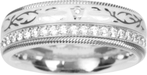 Ring Wellendorff Süßer Engel aus 750 Weißgold und Wellendorff-Kaltemaille mit mehreren Brillanten (0,48 Karat)
