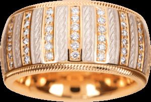 Ring Wellendorff Weißer Engel aus 750 Gelbgold und Wellendorff-Kaltemaille mit mehreren Brillanten (0,84 Karat)