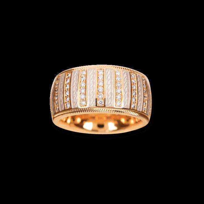 Ring Wellendorff Weißer Engel aus 750 Gelbgold und Emaille mit mehreren Brillanten (0,84 Karat)