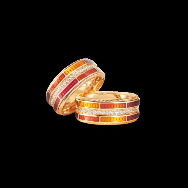 Ring Wellendorff Sonnenglut aus 750 Gelbgold und Wellendorff-Kaltemaille mit mehreren Brillanten (0,454 Karat) bei Brogle