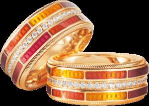 Ring Wellendorff Sonnenglut aus 750 Gelbgold und Wellendorff-Kaltemaille mit mehreren Brillanten (0,454 Karat)