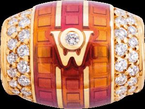 Ronde Wellendorff Sonnenspiel zarte aus 750 Gelbgold und Wellendorff-Kaltemaille mit mehreren Brillanten (0,293 Karat)