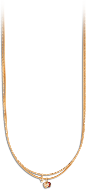 Collier Wellendorff Zweiklang Varieté aus 750 Gelbgold mit mehreren Brillanten (0,144 Karat) und 1 Wellendorff-Kaltemaille