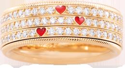 Ring Wellendorff Drei Herzen. Eine Liebe. aus 750 Gelbgold mit mehreren Brillanten (1,342 Karat) und Wellendorff-Kaltemaille
