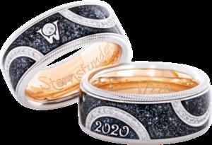Ring Wellendorff Jahresring 2020 - Meine Sternstunden aus 750 Weißgold, 750 Gelbgold und Wellendorff-Kaltemaille mit 61 Brillanten (0,197 Karat)