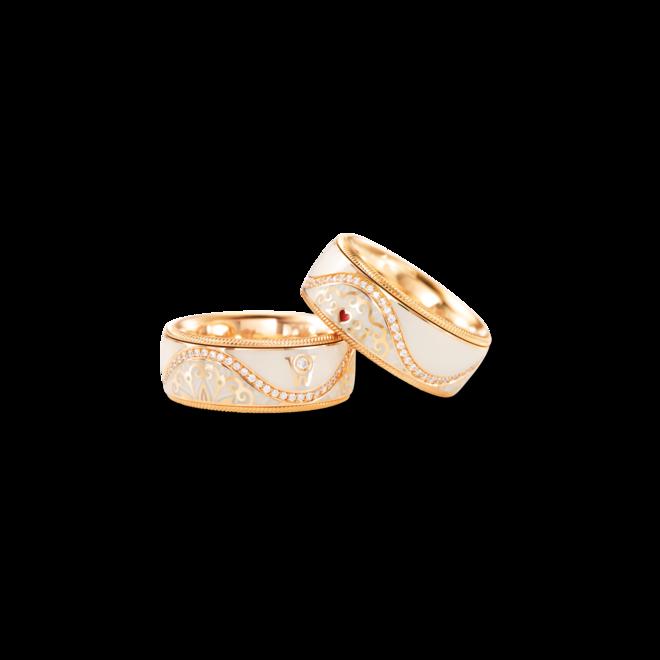 Ring Wellendorff Jahresring 2021. Leben ist. aus 750 Gelbgold und Wellendorff-Kaltemaille mit mehreren Brillanten (0,215 Karat) bei Brogle