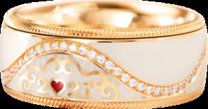 Ring Wellendorff Jahresring 2021. Leben ist. aus 750 Gelbgold und Wellendorff-Kaltemaille mit mehreren Brillanten (0,215 Karat)