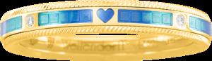 Ring Wellendorff Unsere Zeit. aus 750 Gelbgold mit mehreren Brillanten (0,062 Karat) und Wellendorff-Kaltemaille
