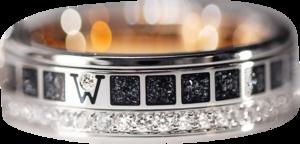 Ring Wellendorff FREIHEIT IST. aus 750 Weißgold, 750 Gelbgold und Wellendorff-Kaltemaille mit 46 Brillanten (0,455 Karat)
